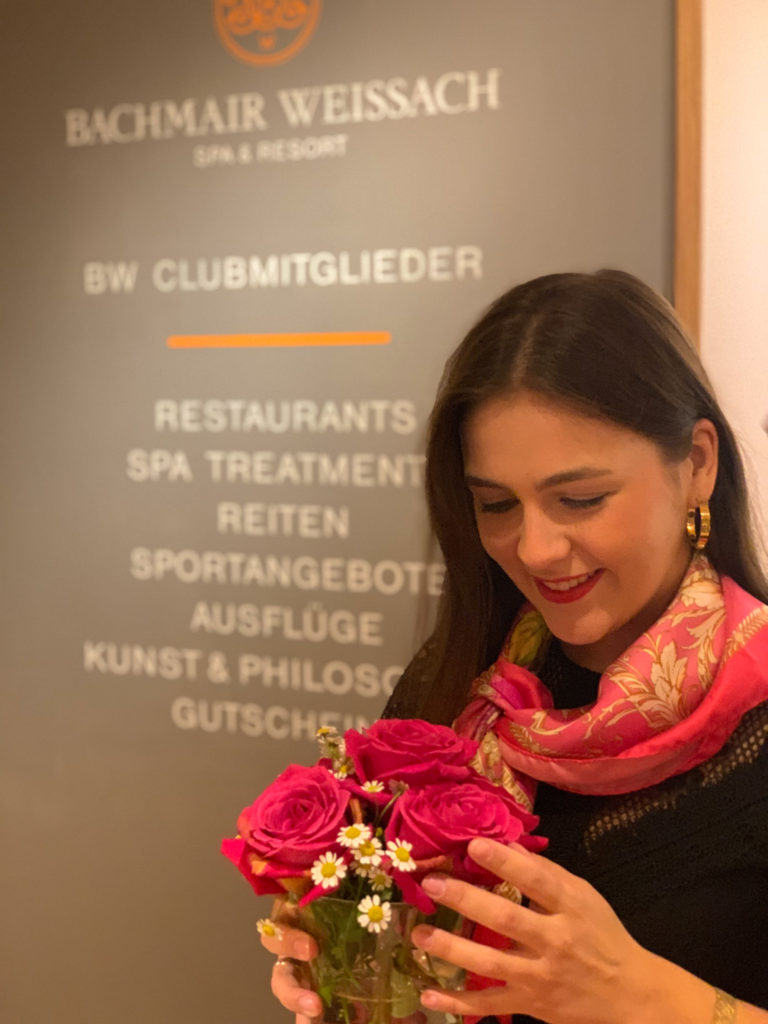 Entspannung im Hotel Bachmair Weißach am Tegernsee, Abendessen im chicen Kleid